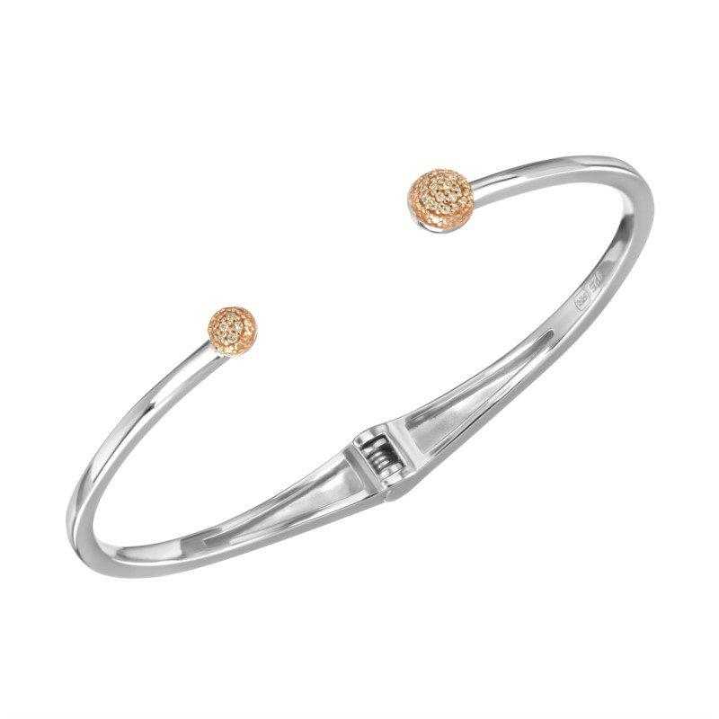 Silver Bangle w/ Rose Gold & Diamonds