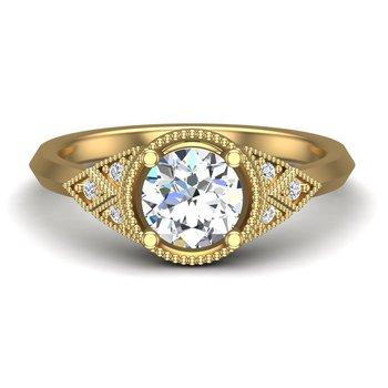 14 Karat Vintage Inspired Diamond Set Ring Mounting