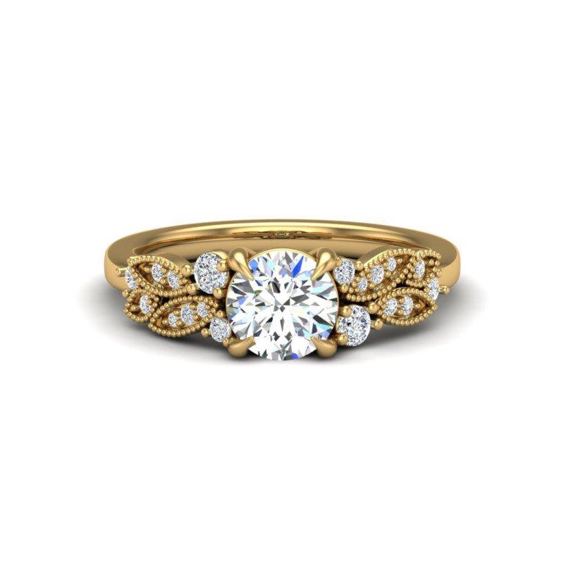 14 Karat Diamond Accented Cathedral Ring Mounting