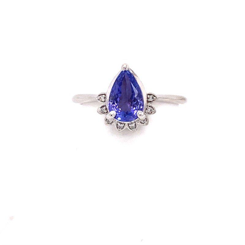 Pear Shaped Tanzanite and Diamond Ring