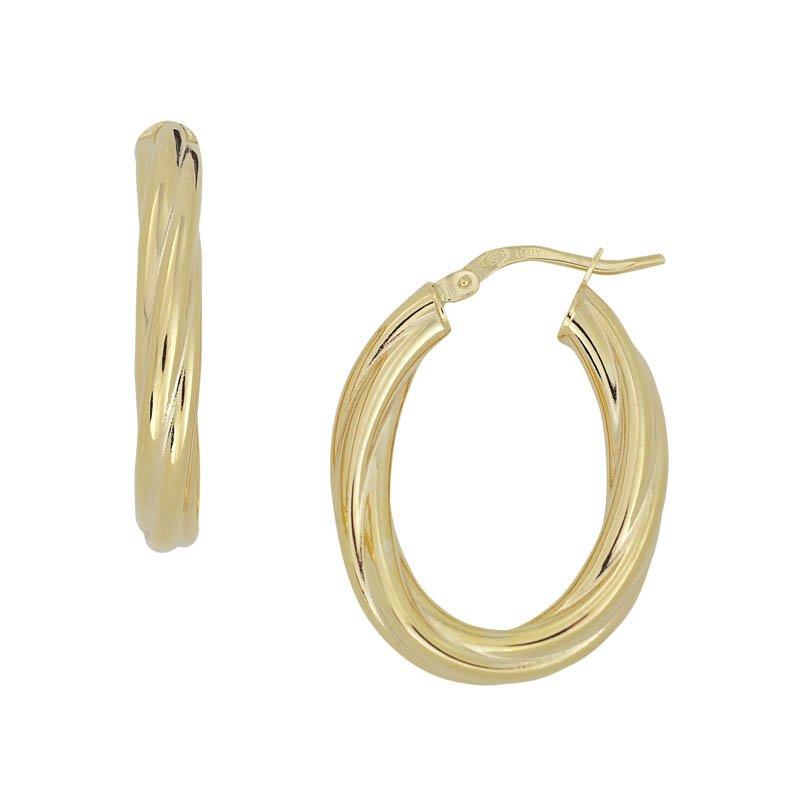Yellow 14 Karat Oval Hoop Earrings