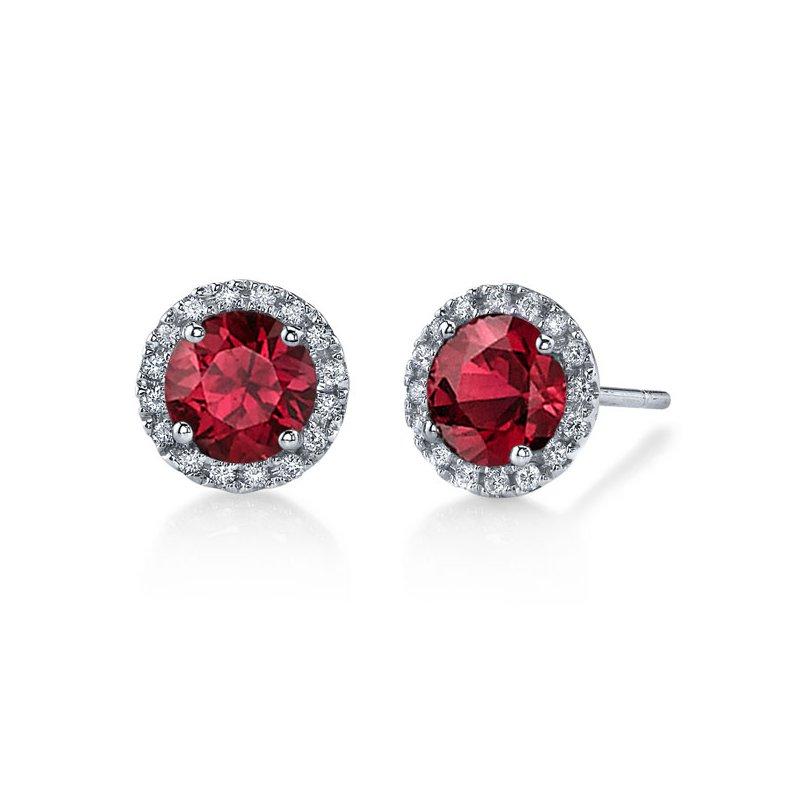 Diamond Halo earrings with Rubies
