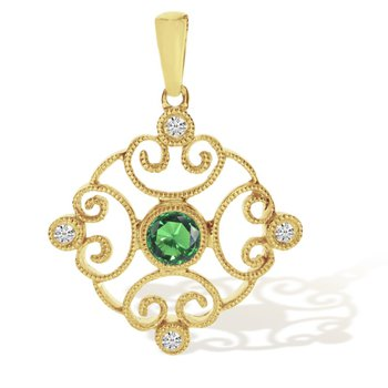 Delicate 14 kt Pendant with Emerald and Diamonds