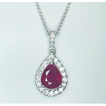 Luscious Pear shaped Ruby and Diamond Pendant
