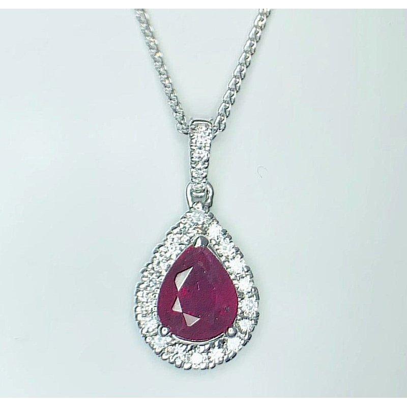 Luscious Pear shaped Ruby and Diamond Pendant