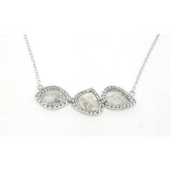 Amazing Diamond Slice Pendant surrounded by Round Diamonds