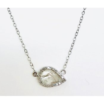 Amazing Diamond Slice Pendant surrounded by Round Diamonds