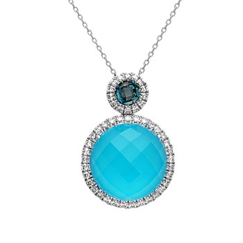 14 kt White Gold Pendant With Rose Cut Turquoise and London Blue Topaz With Halo of Diamonds