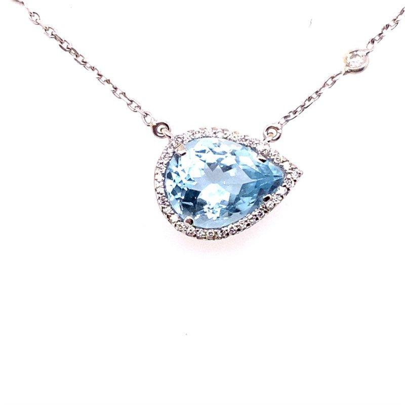 Aquamarine and Diamond Pendant with Bezel Set Diamonds on the Chain