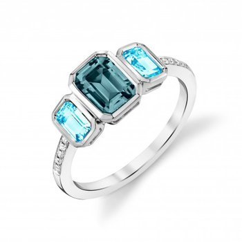 Stylish 3 Blue Topaz Ring with Two colors
