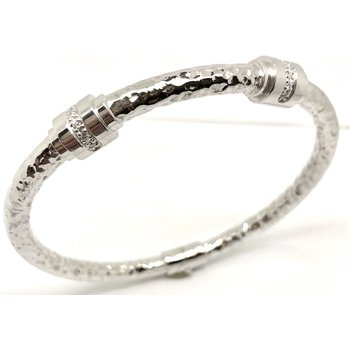 5 mm Sterling Silver Hammered Bangle Bracelet with Double Diamond Stations