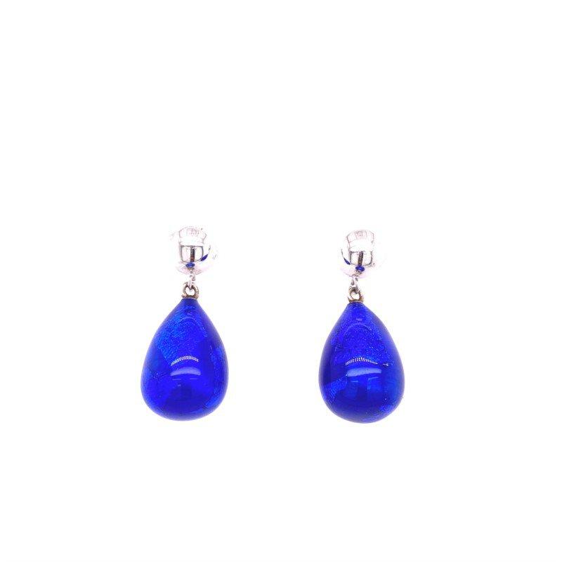 Cobalt Sterling Silver Enameled Drop Earrings