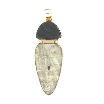 R C Wahl designed Meteorite and Black Drusy pendant