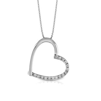 Asymmetrical  14k White Gold  Diamond Heart Pendant