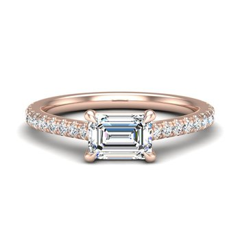 14 Karat East West Solitare Ring With 22= Round Diamonds