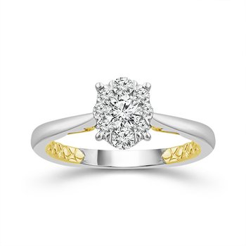 White Gold Diamond Ring with Yellow Gold Details