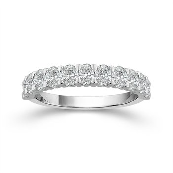 14 Karat White Gold Oval Shape Diamond Band