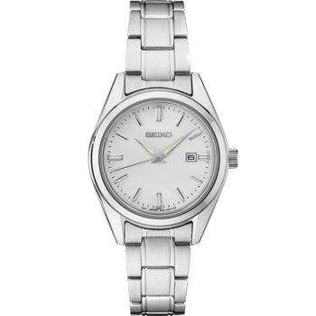 Ladies White Stainless Seiko Steel Quartz Watch