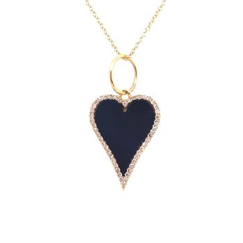 Onyx and Diamond Heart Shaped Pendant