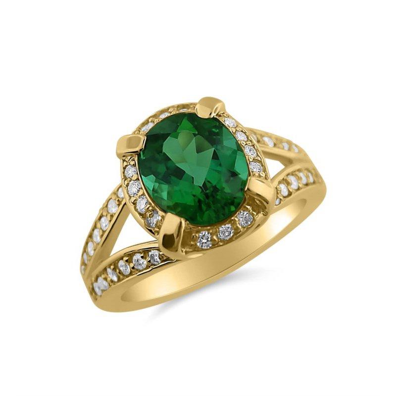 Yellow Gold Diamond and Tourmaline Ring