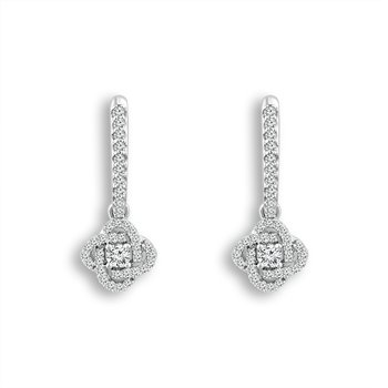 14 Karat White Gold Diamond Love Knot Drop Earrings