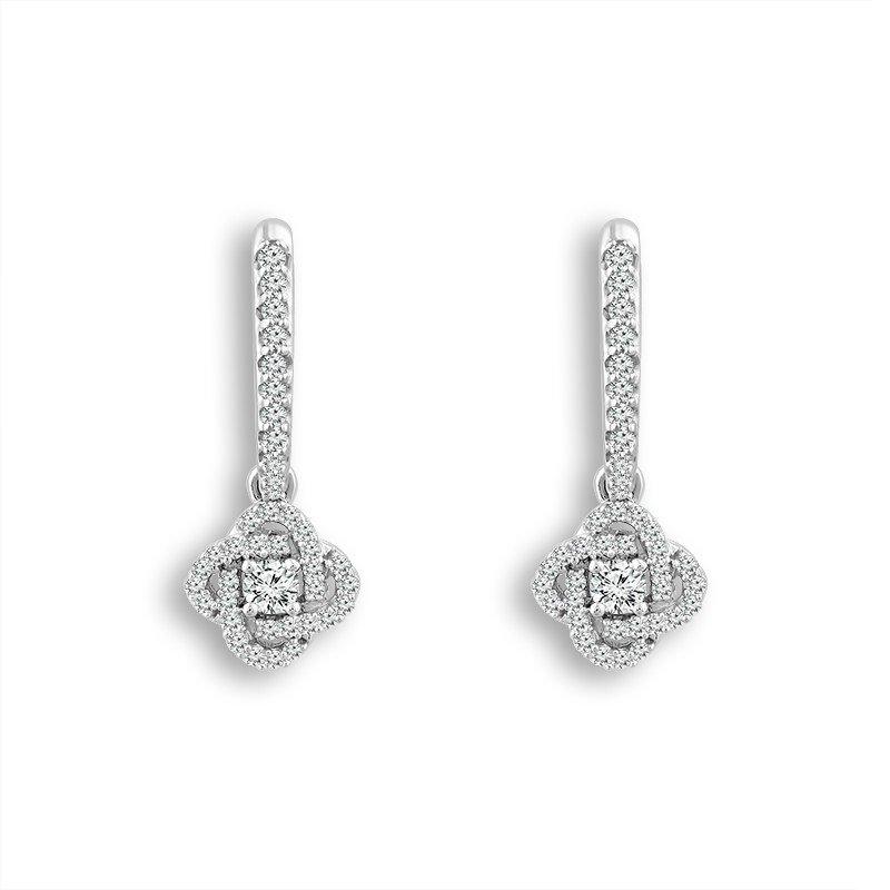 14 Karat White Gold Diamond Love Knot Drop Earrings