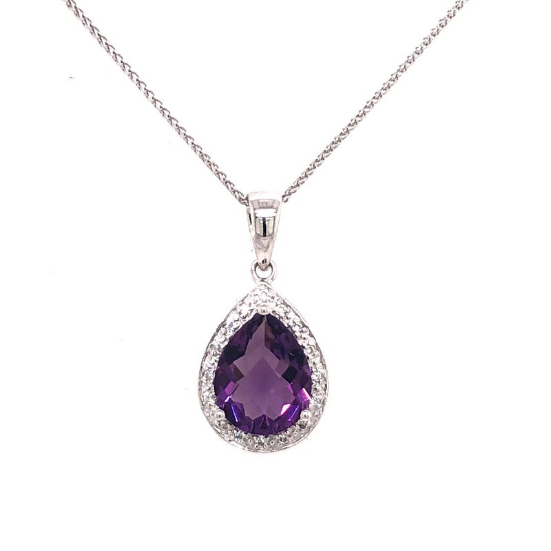 Royal Amethyst and Diamond Pendant in 14 kt Gold