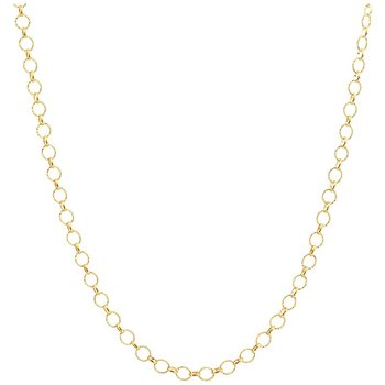 Polished 14 Karat Open Circle Link Pendant, 18""