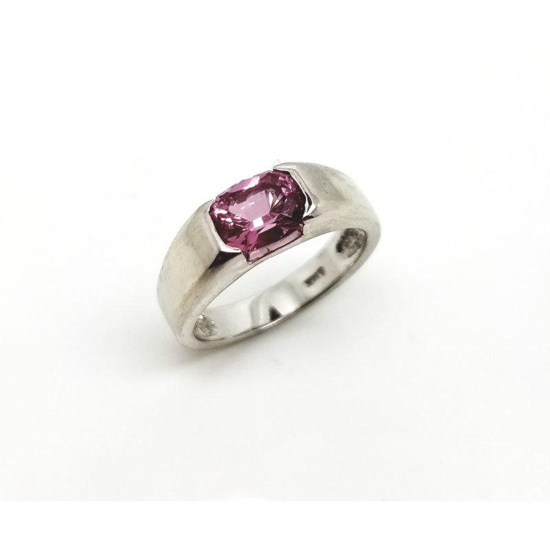 White Gold Pink Spinel Ring