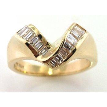 Yellow Gold Chevron Baguette Diamond Ring