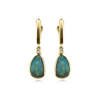 Yellow Gold Opal and Diamond Earrings
