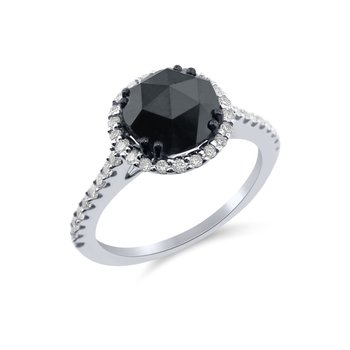 Rose Cut  Black diamond and white diamond Ring