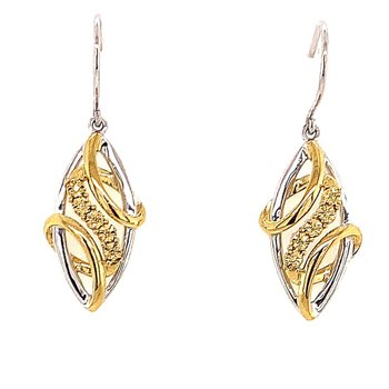 Sterling Silver and Yellow Freeform Earrings with Cappuchino Diamonds
