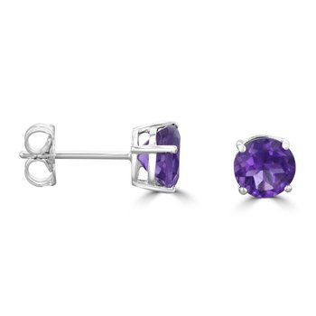 Amethyst Studs in White Gold