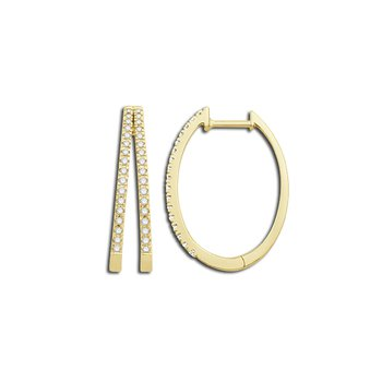 10 Karat Yellow Diamond Hoop Earrings