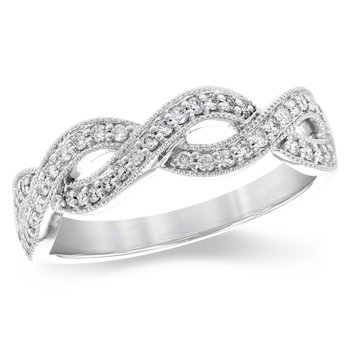 Millgrain Infinity Twist Diamond Band