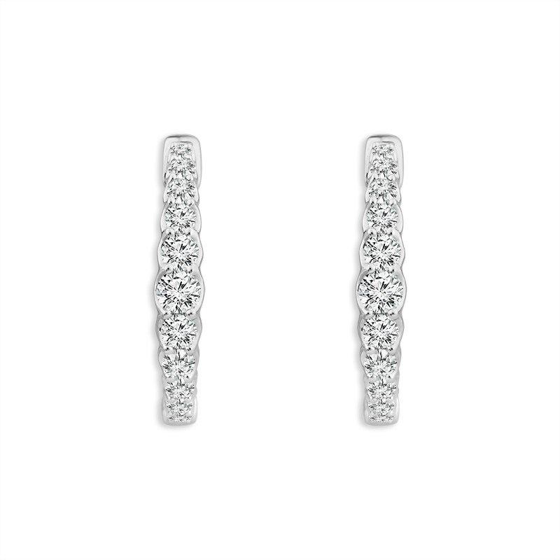 Graduated Diamond Hinged Hoop Earrings