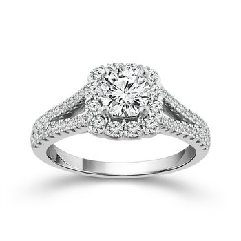 Diamond Engagement Ring With Cushion Halo and Split Shank