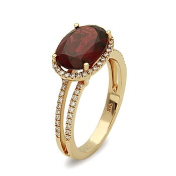 Traditional with a Twist Oval Rhodolite Garnet with Split Diamond set Shank in Yellow Gold