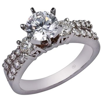 Ring with Double Row of Diamonds with Side Diamonds