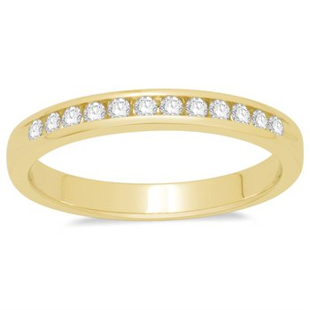 14kt Channel set Yellow Gold Band with Diamonds