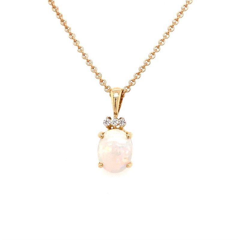 14 Karat Opal and Diamond Pendant