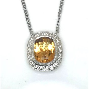 18 Karat Gold Fancy cut  Citrine and Diamond Pendant