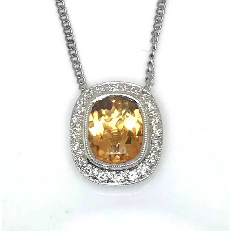 18 Karat Gold Fancy cut  Citrine and Diamond Pendant