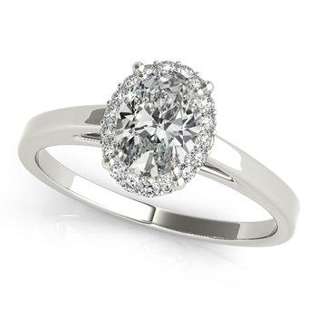 14 karat White Halo Cathedral Engagement Ring Mounting