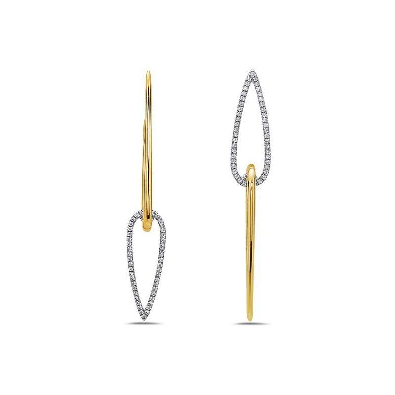 14 KaratTwo-Toned Geometric Diamond Earrings
