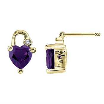 14kt Heart Shaped 'Lock' Amethyst and Diamond Earrings