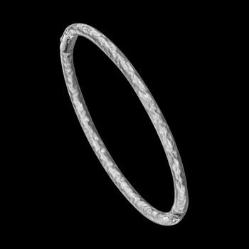 3 mm Sterling Silver Enamel Hammered Bangle Bracelet