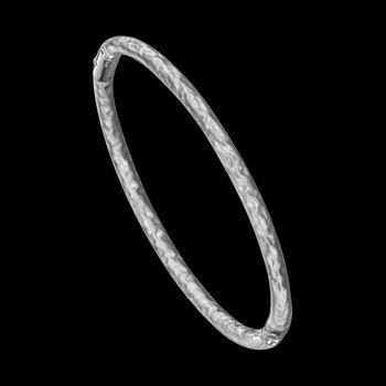 3 mm Sterling Silver Enamel Hammered Bangle Bracelet