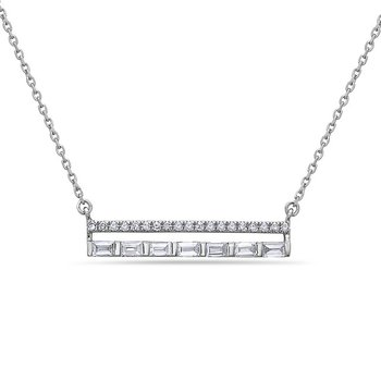 "Stylish Diamond and Baquette Bar Pendant on an 18"" Chain"